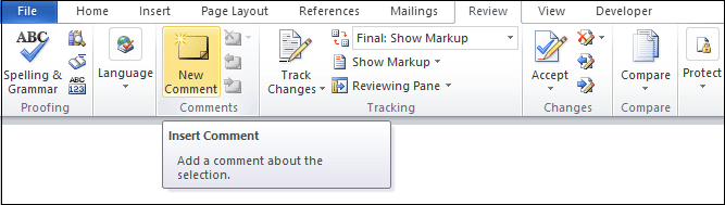 How to Insert or remove the comment in Word