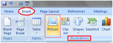 MS Word How to insert picture in document 1
