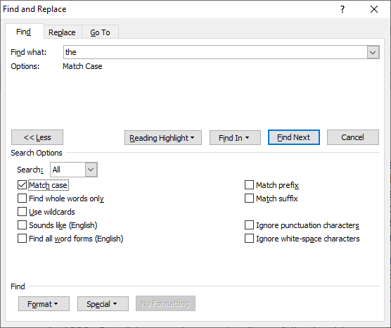 How to search for words in a Word document