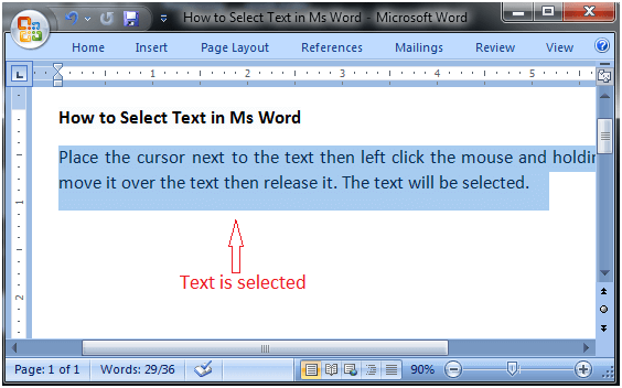 MS Word How to select text in ms word 1