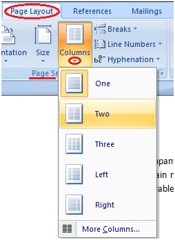 MS Word How to split text to column 1