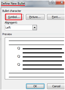 MS Word How to use symbols as bullets 1