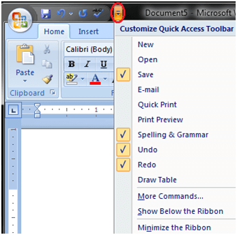 MS Word Quick accesss toolbar 2