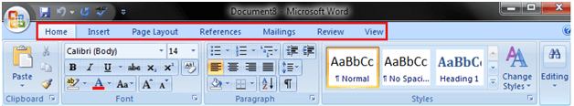 MS Word Ribbon and tags 1
