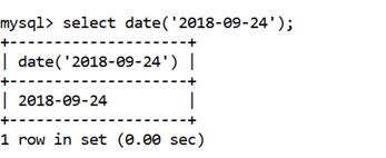 MySQL DATE() Function