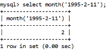 MySQL Datetime month() Function