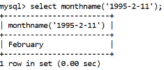 MySQL Datetime monthname() Function