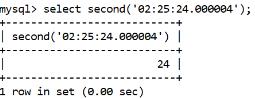 MySQL Datetime second() Function
