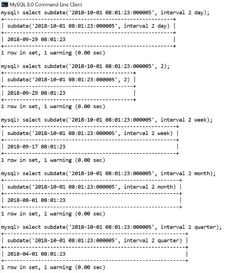 MySQL Subdate() Function