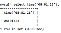 MySQL time() Function