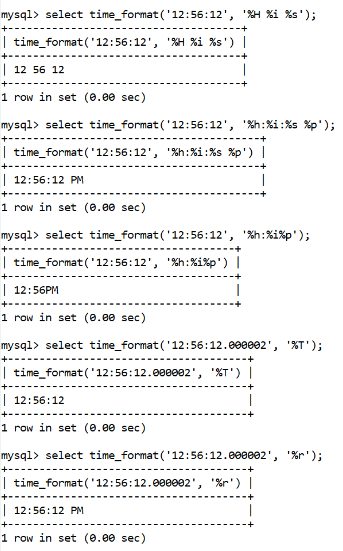 MySQL Datetime time_format() Function