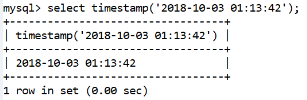 MySQL Datetime timestamp() Function