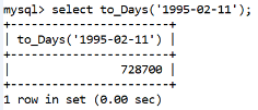 MySQL Datetime to_day() Function