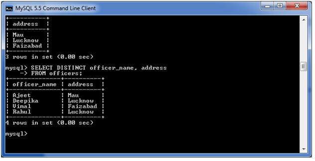 MySQL distinct clause 3