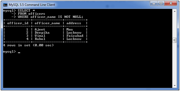 MySQL IS NOT NULL Condition 2
