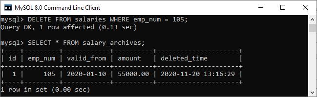 MySQL BEFORE DELETE Trigger