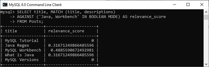MySQL BOOLEAN FULLTEXT SEARCH