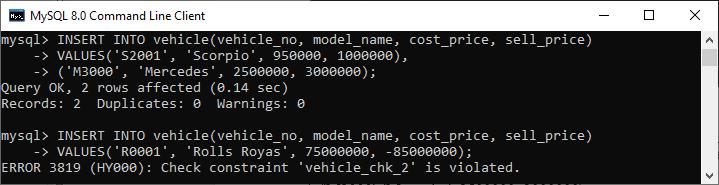 MySQL CHECK CONSTRAINT