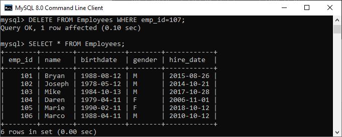 mysql delete query