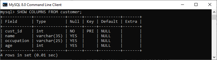 MySQL DESCRIBE TABLE