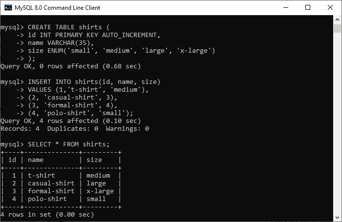 MySQL ENUM