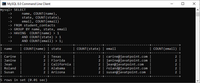 MySQL Find Duplicate Records