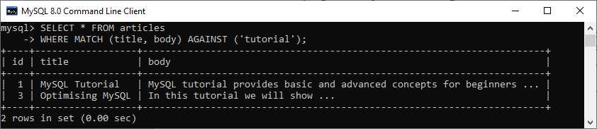 MySQL FULLTEXT SEARCH (FTS)