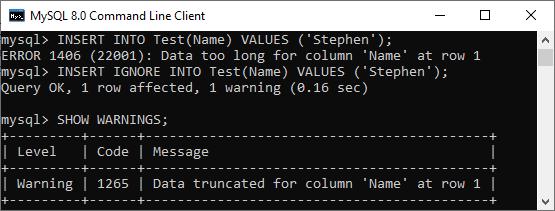 MySQL INSERT IGNORE