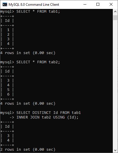 MySQL INTERSECT