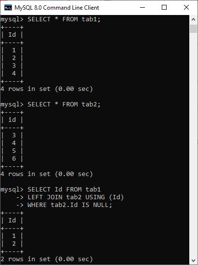 MySQL MINUS