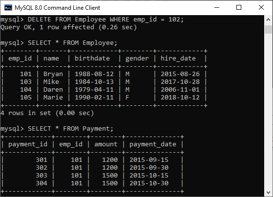 MySQL ON DELETE CASCADE