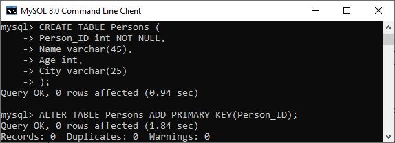 MySQL Primary Key