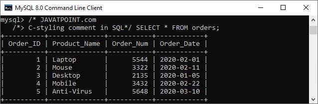 MySQL Comments