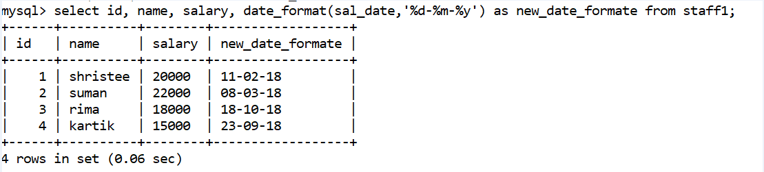 MySQL Date and Time