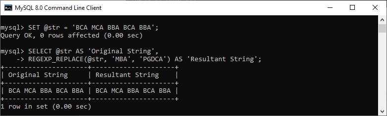 MySQL REGEXP_REPLACE() Function
