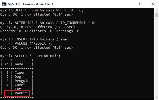 MySQL Reset Auto-Increment