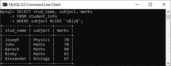 MySQL RLIKE Operator
