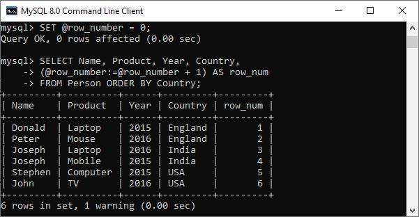 MySQL ROW_NUMBER() Function