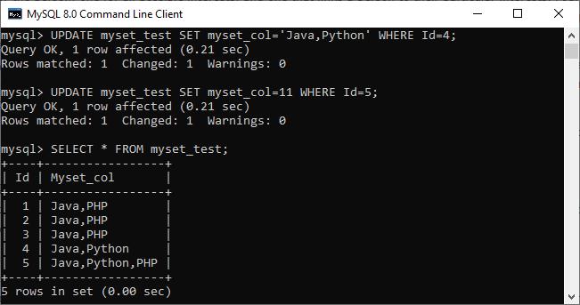 MySQL set