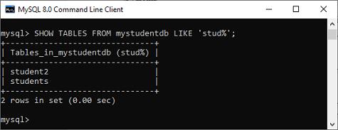 MySQL Show/List Tables