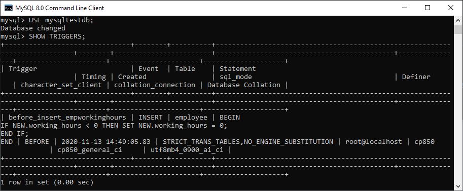 MySQL Show/List Triggers