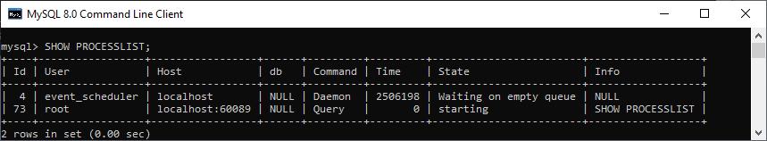MySQL SHOW PROCESSLIST