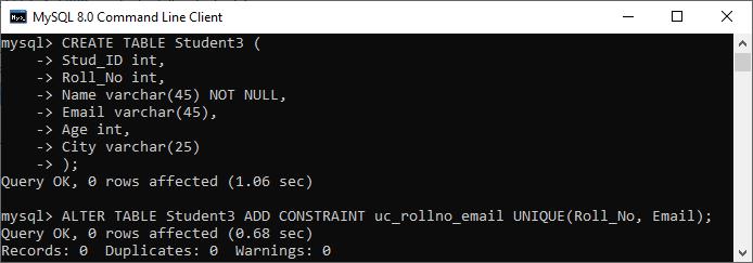 MySQL Unique Key