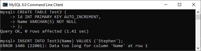 MySQL VARCHAR