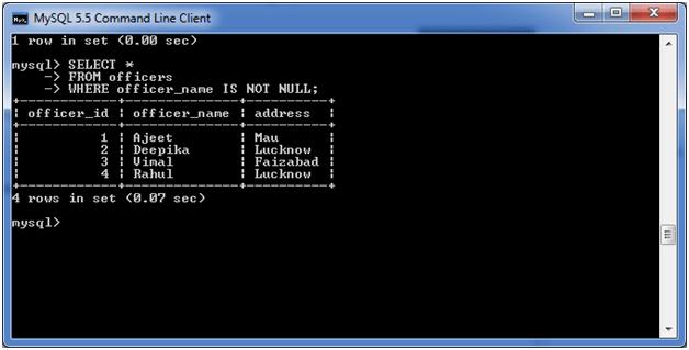 MySQL NOT Condition