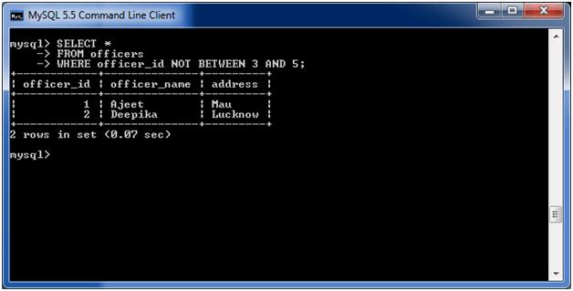 MySQL NOT Condition 5