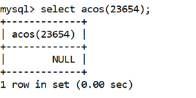 MySQL Math ACOS() Function