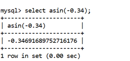 MySQL Math ASIN() Function