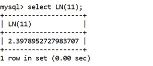 MySQL Math LN() Function