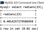 MySQL Math RADIANS() Function